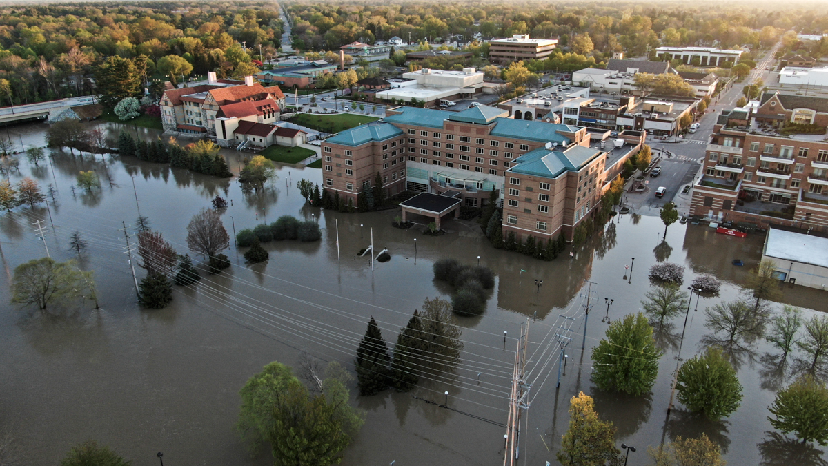 The flooded downtown area of Midland, Michigan is seen in this aerial photo. [Tannen Maury/EPA]
