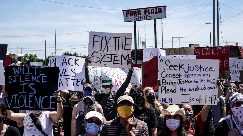 People take part in a Black Lives Matters protest during nationwide unrest following the death in Minneapolis police custody of George Floyd, in Oklahoma City, Oklahoma, U.S., May 31, 2020. REUTERS/Ni