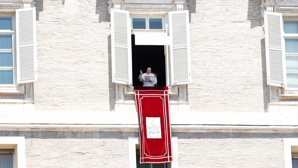 Pope Francis leads the Regina Coeli prayer for the first time in three months at the Vatican