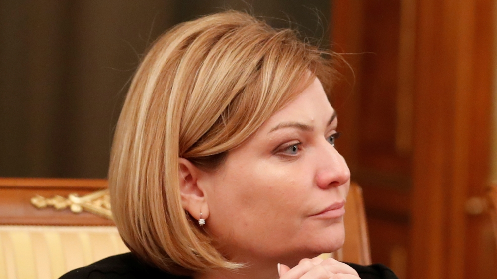 Russian Minister of Culture Olga Lyubimova attends a government meeting in Moscow