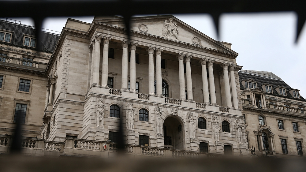 LONDON, ENGLAND - APRIL 18: General view of the Bank of England on April 18, 2020 in London, England. In a press conference on Thursday, First Secretary of State Dominic Raab announced that the lockdo