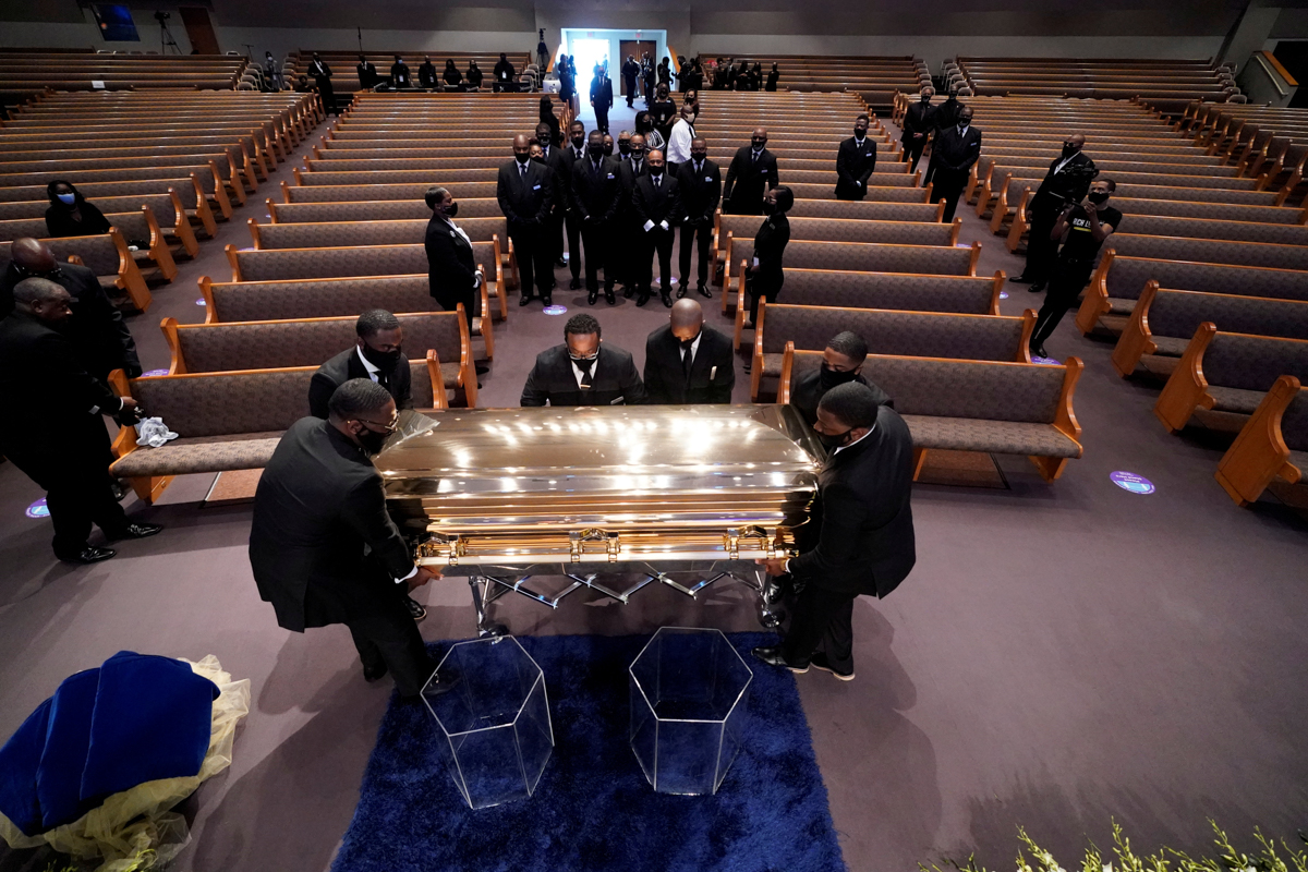The casket of George Floyd is placed in the chapel for the funeral service at the Fountain of Praise church in Houston. [David J. Phillip/Pool via Reuters]