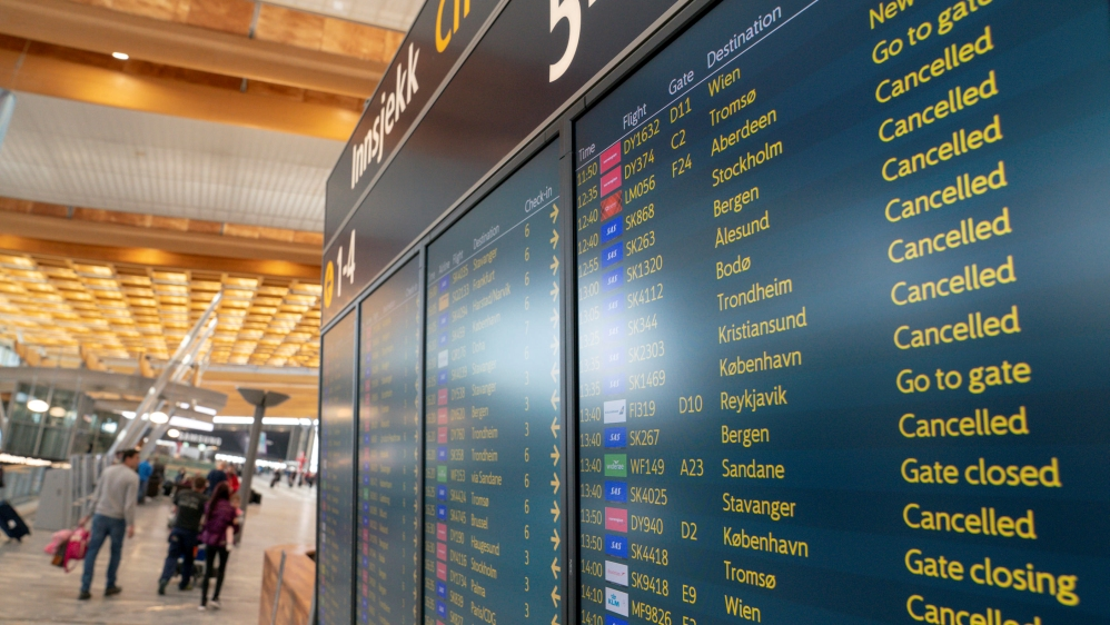 Info board shows cancelled SAS flights at the Oslo Airport, Gardermoen