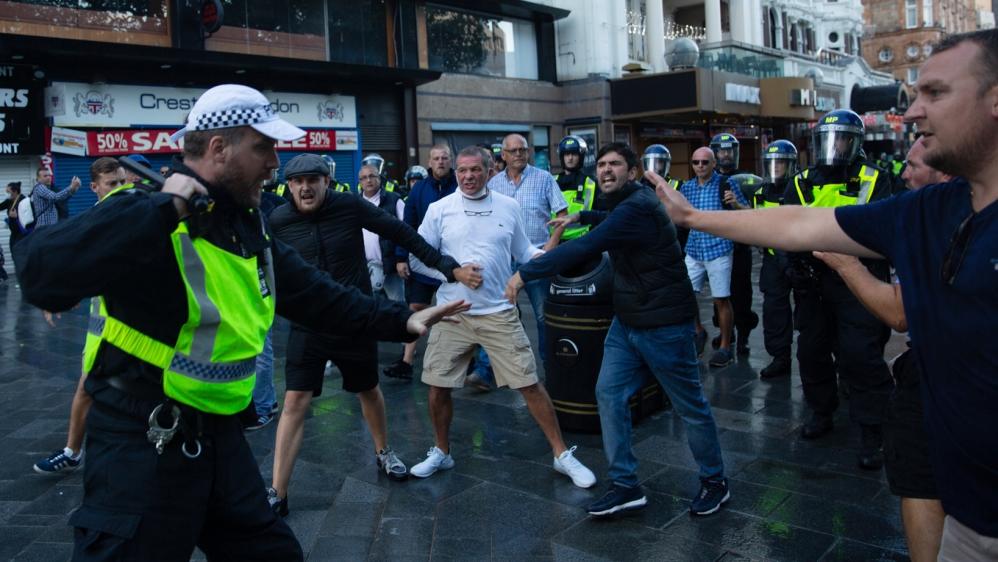 London protests turn violent