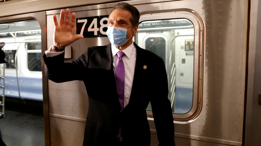 New York Governor Cuomo rides subway in Manhattan on first day of phase one reopening in New York City