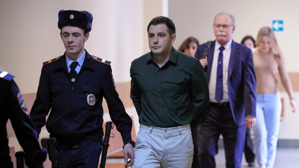 U.S. ex-Marine Reed attends a court hearing in Moscow