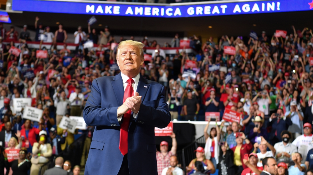 US President Donald Trump arrives for a campaign rally at the BOK Center on June 20, 2020 in Tulsa, Oklahoma. Hundreds of supporters lined up early for Donald Trump's first political rally in months,