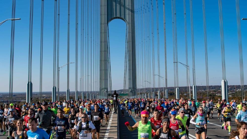Nov 3, 2019; New York, NY, USA; Runners cross the Verrazzano bridge during the 2019 TCS New York City Marathon in New York, NY. Mandatory Credit: John Jones-USA TODAY Sports