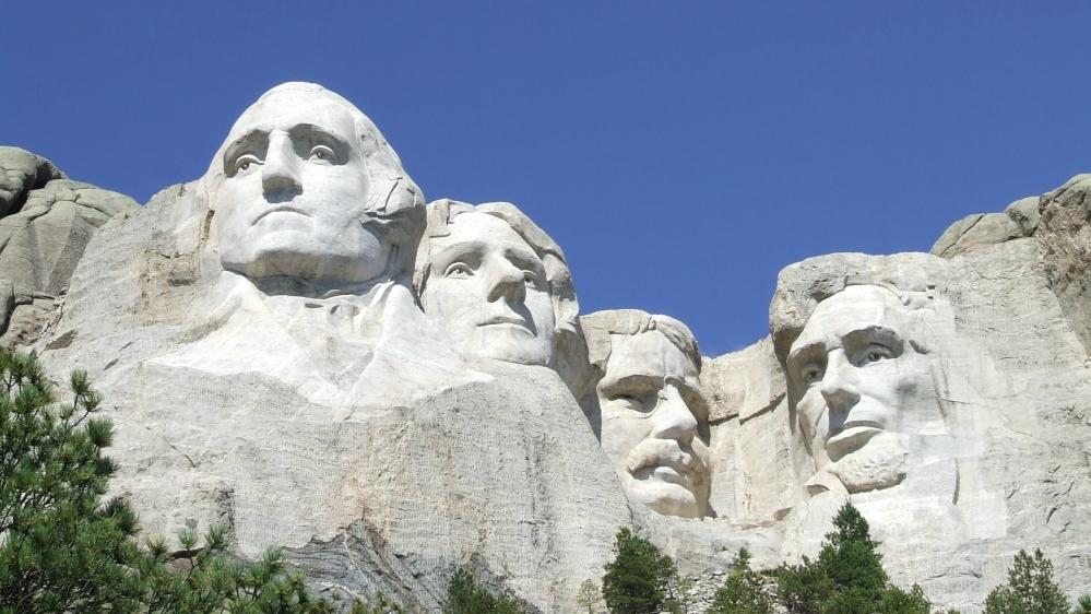 U.S. presidents George Washington Thomas Jefferson Theodore Roosevelt and Abraham Lincoln on Mount Rushmore National Memorial in South Dakota