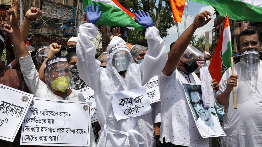 Protest demanding better treatment for people infected with COVID-19 in Kolkata