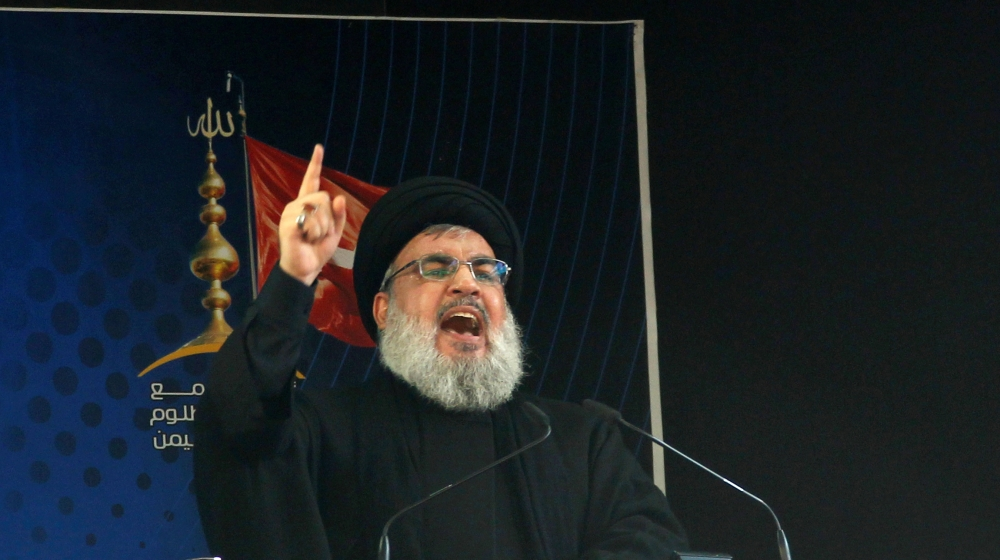 Lebanon's Hezbollah leader Sayyed Hassan Nasrallah addresses his supporters during a public appearance at a religious procession to mark Ashura in Beirut's southern suburbs, Lebanon October 12, 2016.