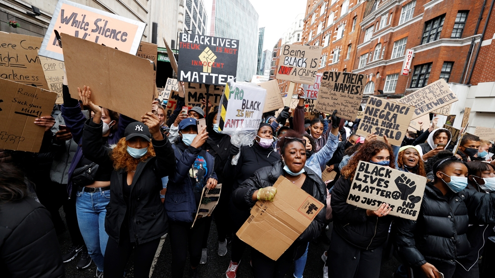 Demonstrators are seen during a Black Lives Matter protest in London, following the death of George Floyd who died in police custody in Minneapolis, London, Britain, June 6, 2020. REUTERS/John Sibley