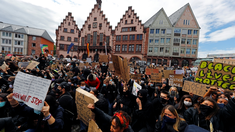 Protest against police brutality and the death in Minneapolis police custody of George Floyd, in Frankfurt