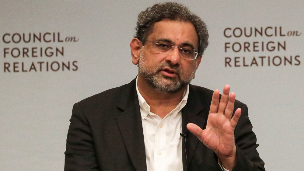 Pakistani Prime Minister Shahid Khaqan Abbasi attends a panel discussion with the Council on Foreign Relations in Manhattan, New York