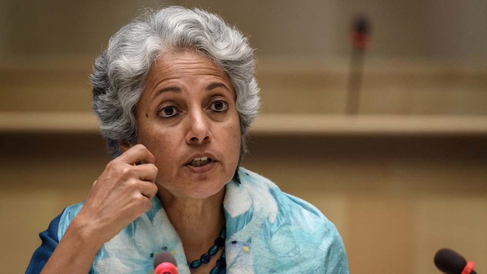 World Health Organization (WHO) Chief Scientist Soumya Swaminathan attends a news conference in Geneva