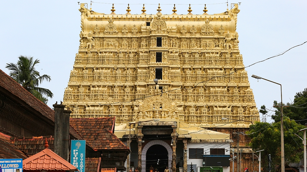 The historic Sree Padmanabhaswamy Temple in Thiruvananthapuram (Trivandrum), Kerala, India. The temple which is more than 260 years old recently came into the spotlight after gold coins and precious s