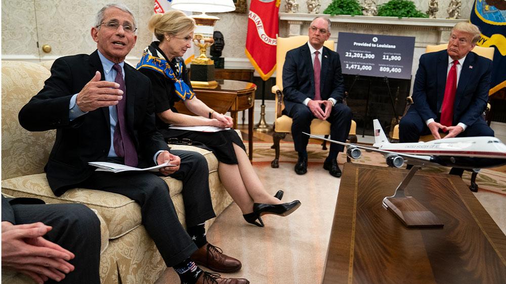 Fauci Birx in Oval w/ Trump