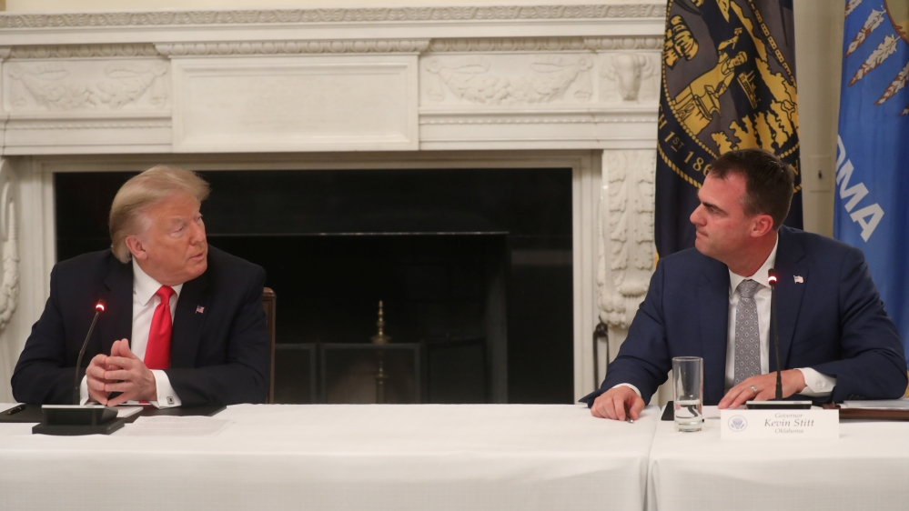 U.S. President Trump hosts roundtable discussion on the reopening of U.S. economy at the White House in Washington
