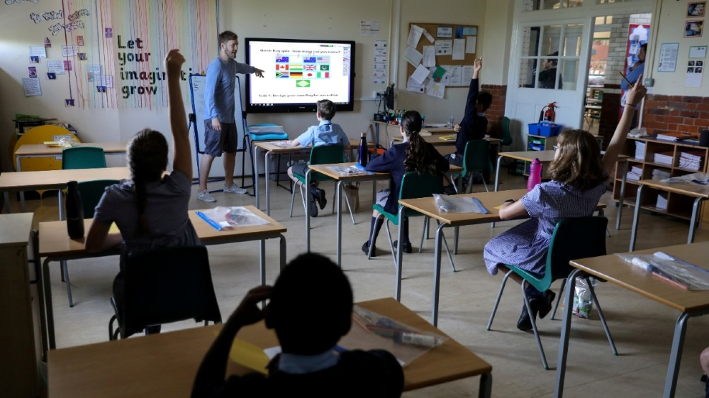 A year six classroom at St John's Primary School as some children returned to the school as the coronavirus disease (COVID-19) lockdown eases in Fulham, West London, Britain,