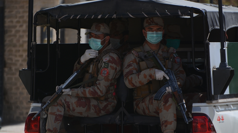 QUETTA, BALOCHISTAN, PAKISTAN - 2020/03/25: Security personnel patrolling in the city to implement partial lock down. Due to COVID-19 all markets are closed during lockdown implement by Pakistan gover