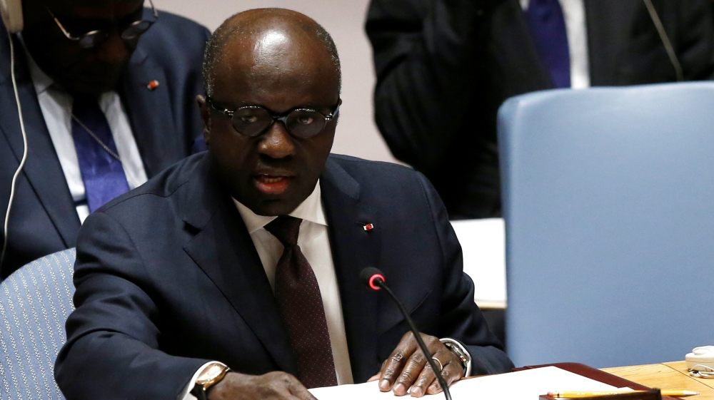 Ivory Coast's Foreign Affairs Minister Amon Tanoh speaks during a meeting of the United Nations Security Council in New York