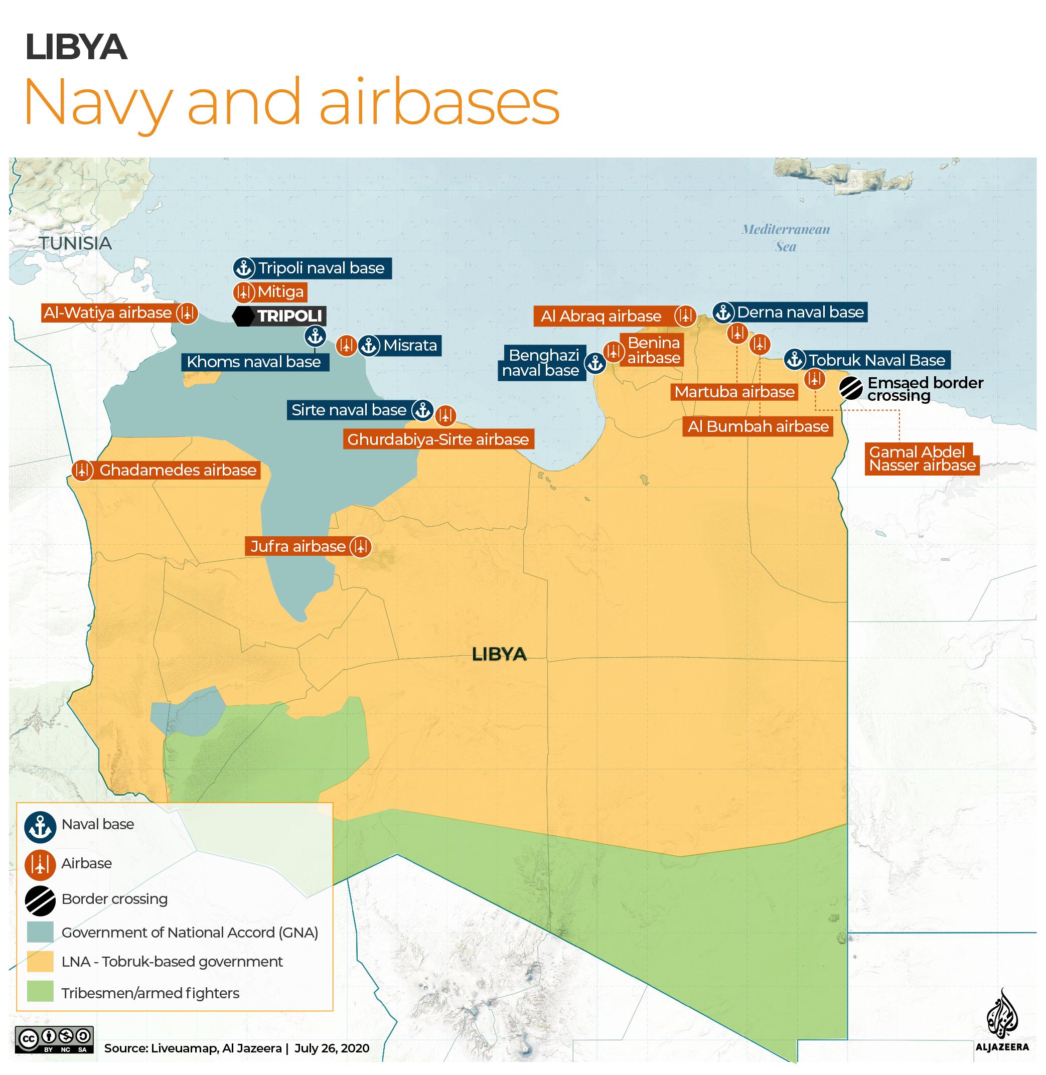 INTERACTIVE: Libya naval and airbases - July 27, 2020