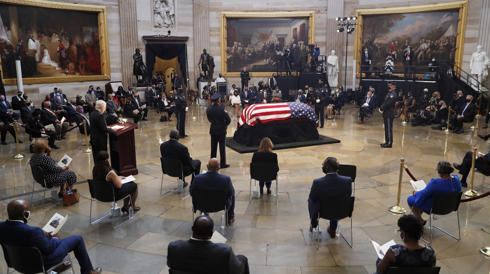 The casket of U.S. Representative from Georgia John Lewis arrives during a ceremony preceding the lying in state in the Rotunda of the U.S. Capitol in Washington, D.C., U.S. July 27, 2020. Shawn Thew/