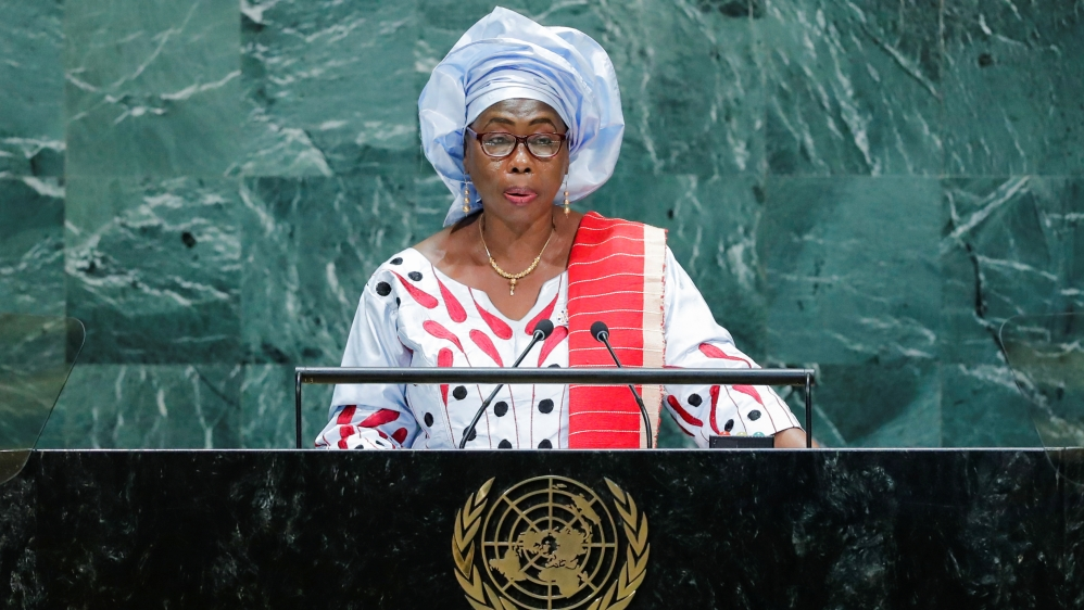 Gambia's Vice President Touray addresses the 74th session of the United Nations General Assembly at U.N. headquarters in New York City, New York, U.S.