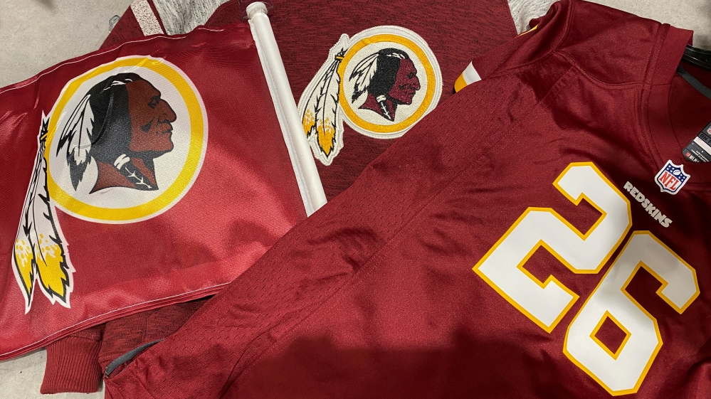 Washington Redskins attire for sale at a store in Virginia