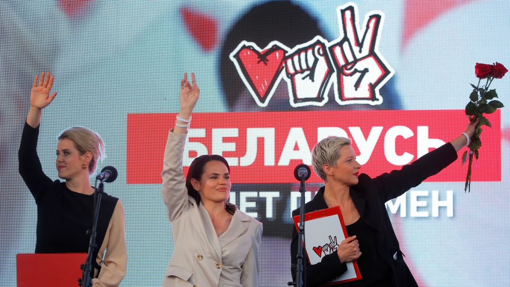 Presidential candidate Svetlana Tikhanouskaya attends an election campaign rally in Minsk
