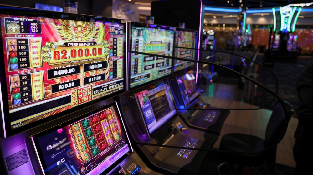 A slot machine displays an amount ahead of the opening of the Sun International's Times Square Casino, in Pretoria