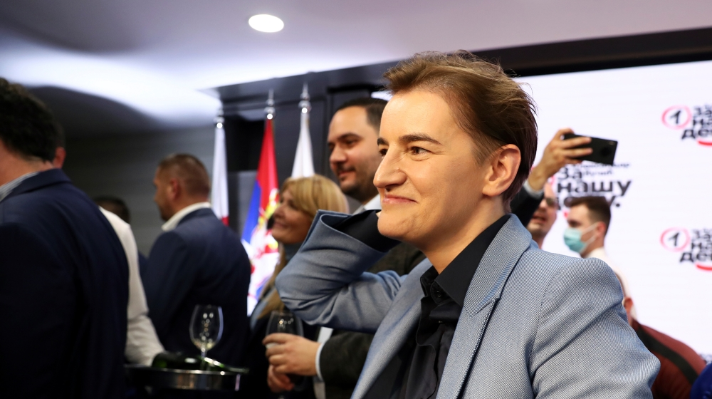 Serbian Prime Minister Ana Brnabic reacts at Serbian Progressive Party (SNS) headquarters during a national election, the first in Europe since lockdown due to the coronavirus disease (COVID-19) outbr