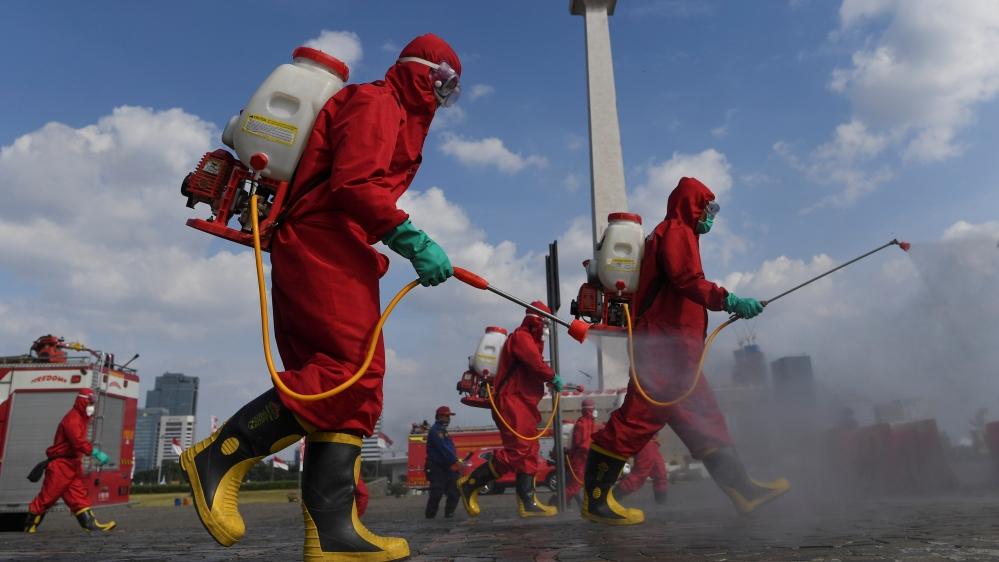 Firefighters Indonesia coronavirus