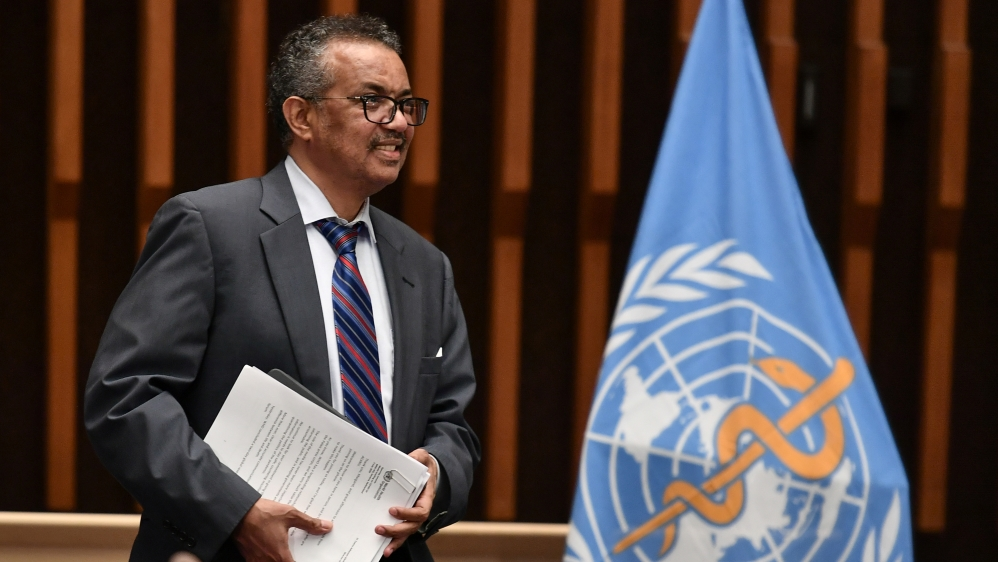 World Health Organization Director-General Tedros Adhanom Ghebreyesus attends a news conference in Geneva