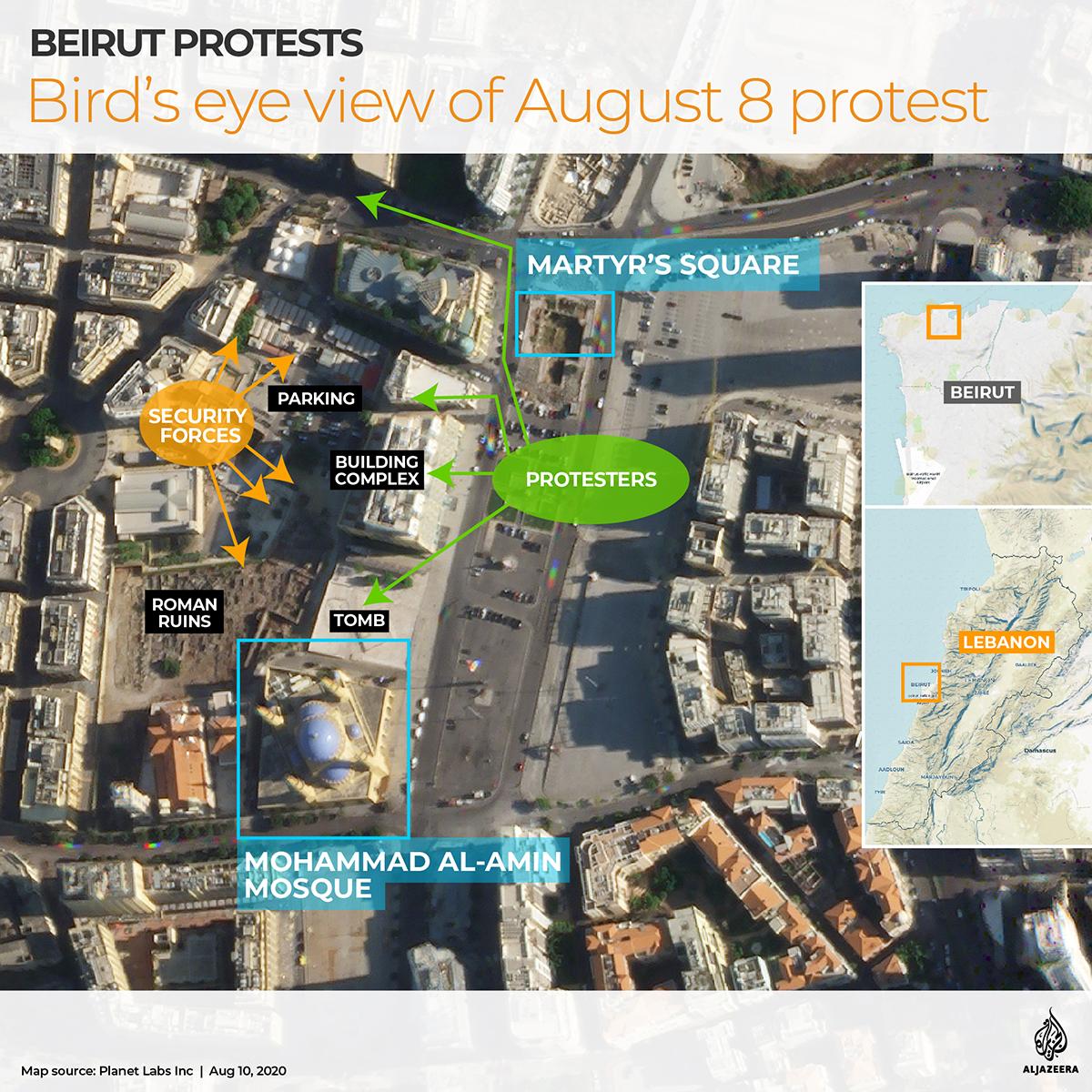 Bird's eye view Beirut protest August 8