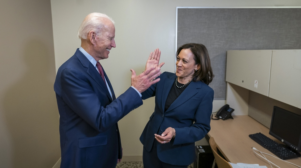 An undated handout photo made available by the Biden Harris Campaign shows former US Vice President and presumptive Democratic candidate for President Joe Biden with California Senator Kamala Harris,