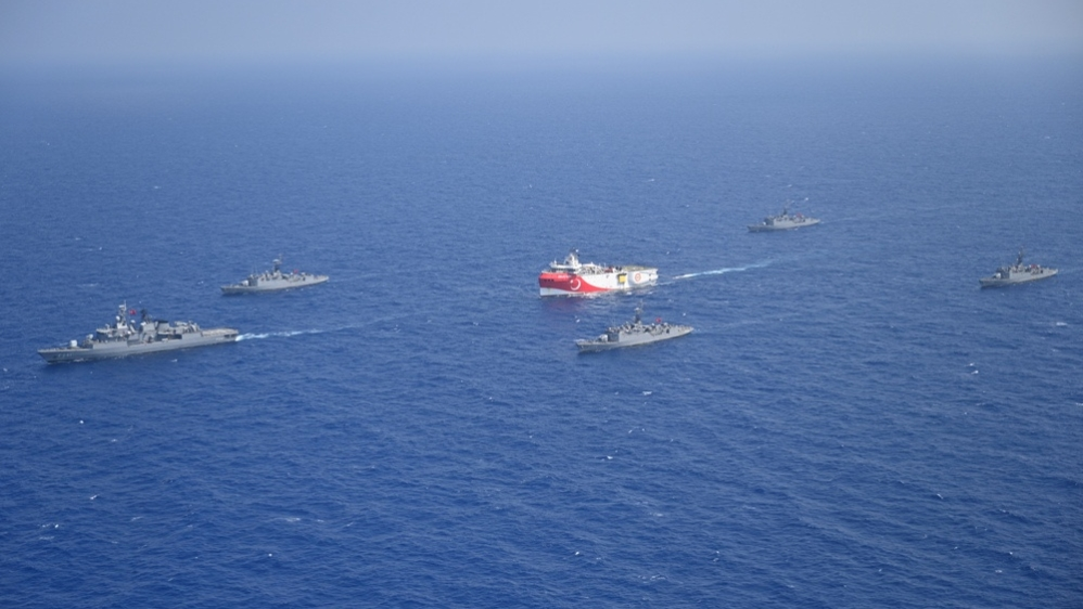 Turkish seismic research vessel Oruc Reis is escorted by Turkish Navy ships as it sets sail in the Mediterranean Sea