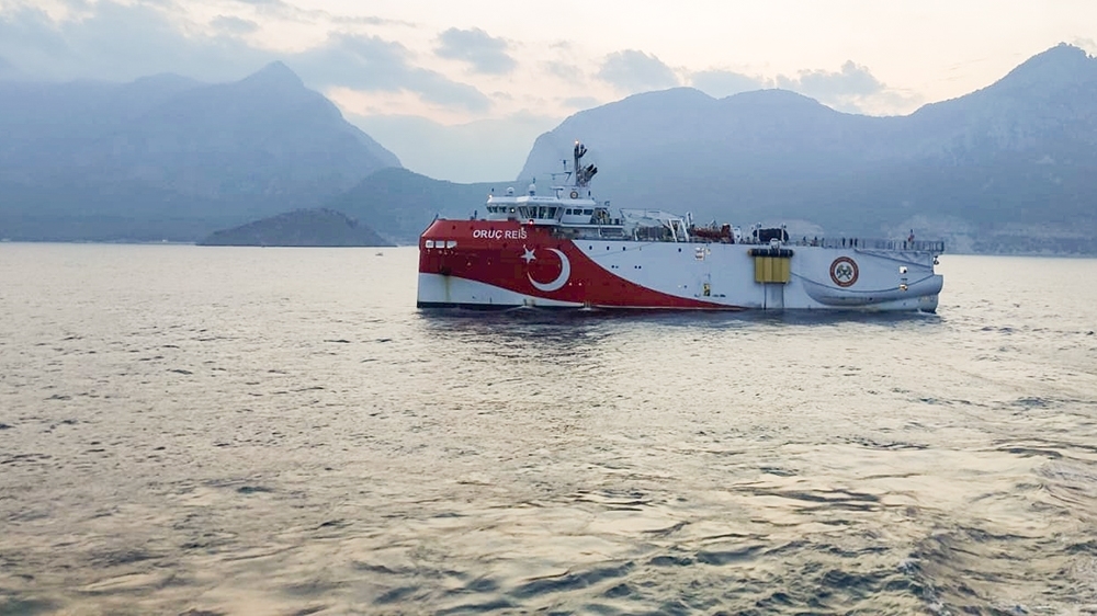 Turkish seismic research vessel Oruc Reis sails through Mediterranean after leaving a port in Antalya, Turkey, August 10, 2020. Turkish Ministry of Energy/Handout via REUTERS THIS IMAGE HAS BEEN SUPPL