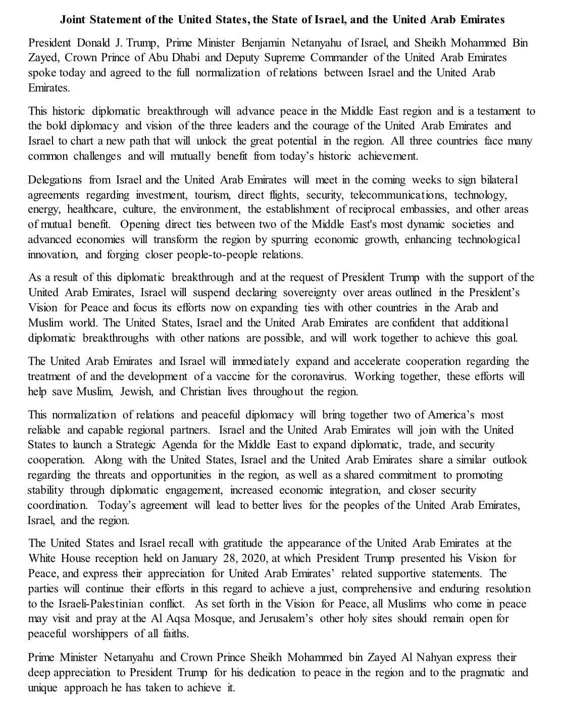 USA-UAE-Israel announcement