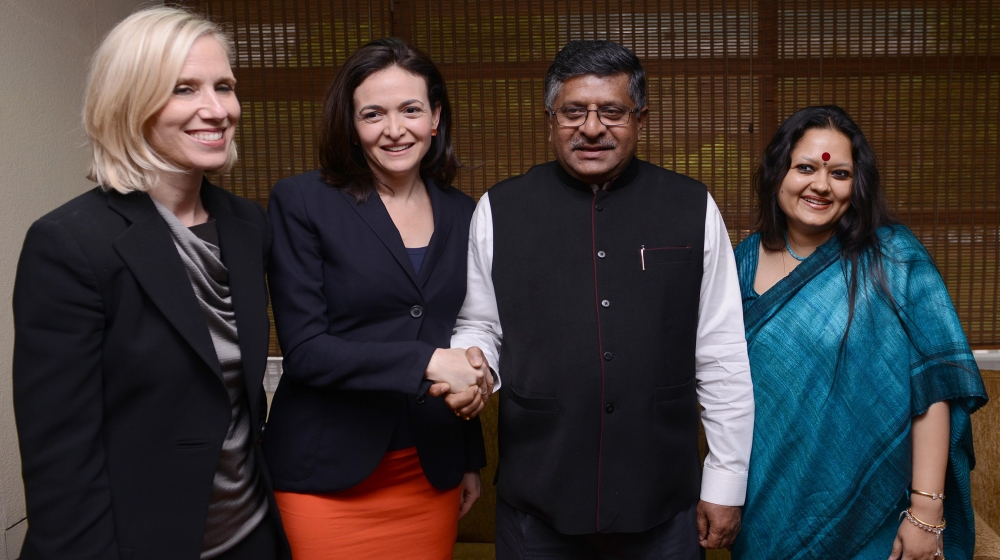 Communication and Information and Technology Minister Ravi Shankar Prasad shakes hands with COO, Facebook Sheryl Sandberg, during a meeting in New Delhi on Thursday. Facebook's Global Public Policy Vi