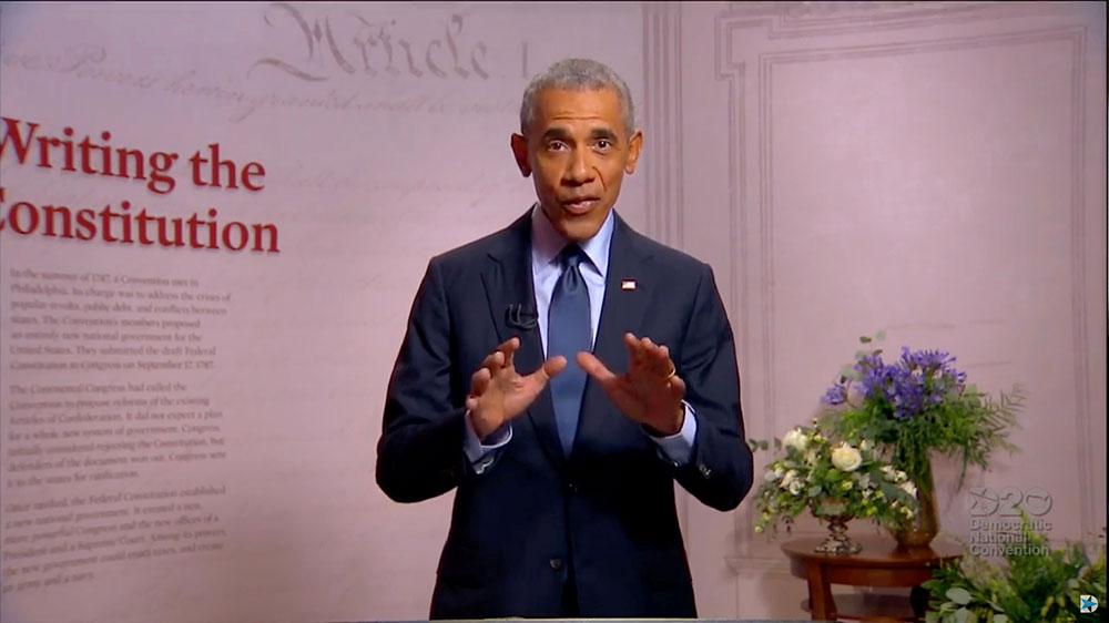 Barack Obama speaks to Dem convention