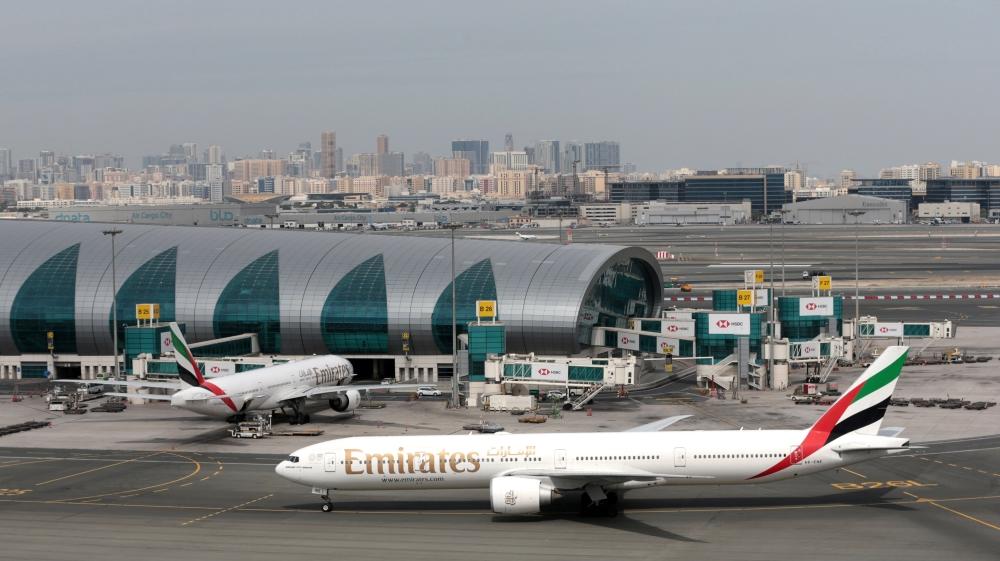 Emirates Airline Boeing 777 planes are seen at Dubai International Airport in Dubai