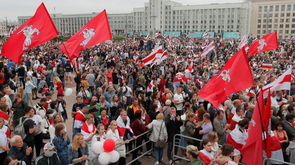 Belarus protesters demand President Lukashenko's resignation thumbnail