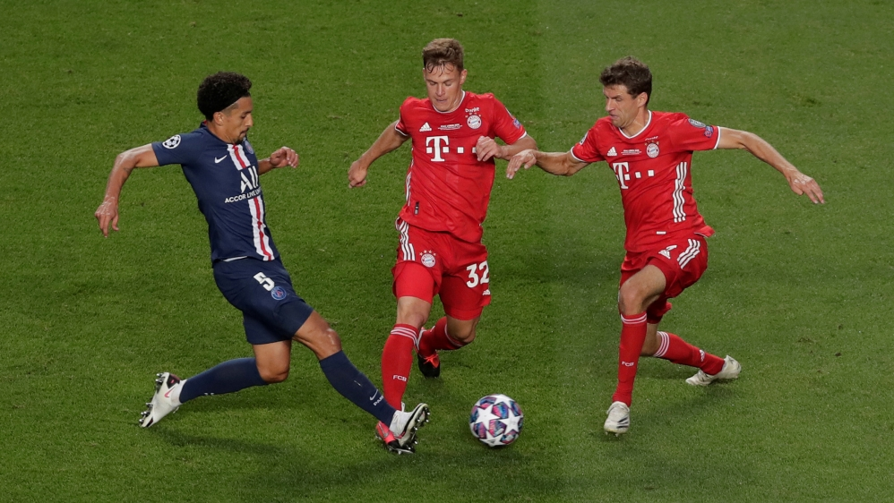 Soccer Football - Champions League - Final - Bayern Munich v Paris St Germain - Estadio da Luz, Lisbon, Portugal - August 23, 2020 Paris St Germain's Marquinhos in action with Bayern Munich's Joshua