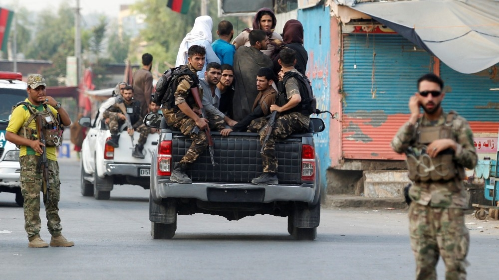 Afghan security forces transport detained prisoners, Jalalabad