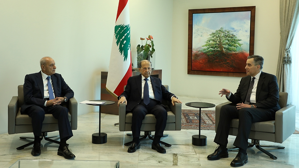Designated Prime Minister Mustapha Adib, meets with Lebanon's President Michel Aoun and Lebanese Speaker of the Parliament Nabih Berri at the presidential palace in Baabda, Lebanon August 31, 2020. RE