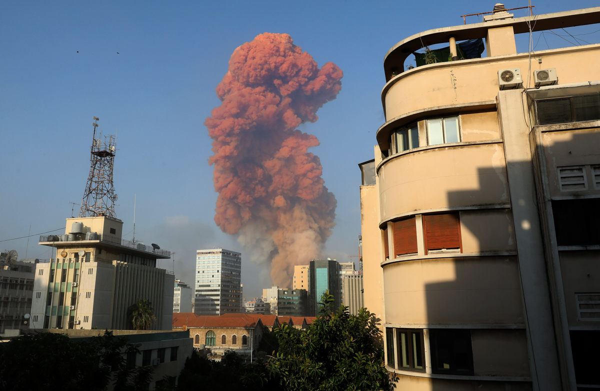 A picture shows the scene of an explosion in Beirut on August 4, 2020. - A large explosion rocked the Lebanese capital Beirut on August 4, an AFP correspondent said. The blast, which rattled entire bu