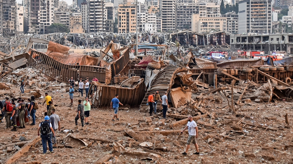 A picture shows the scene of an explosion near the the port in the Lebanese capital Beirut on August 4, 2020. Two huge explosion rocked the Lebanese capital Beirut, wounding dozens of people, shaking