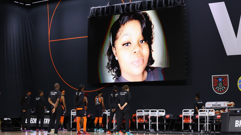 The Connecticut Sun honor Breonna Taylor prior to a game against the Minnesota Lynx on August 1, 2020 at Feld Entertainment Center in Palmetto, Florida. NOTE TO USER: User expressly acknowledges and a