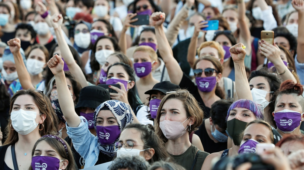 Women shout slogans during a protest against femicide and domestic violence, in Istanbul, Turkey August 5, 2020. The ruling AK Party is considering to withdraw from the Council of Europe's Istanbul C